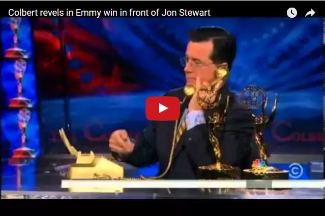 FUNNY - Jon Stewart's Happiness For His Mentee Stephen Colbert's Success!