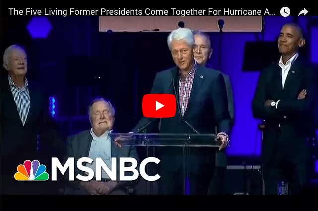 Five Former US Presidents Show Unity For Hurricane Victims