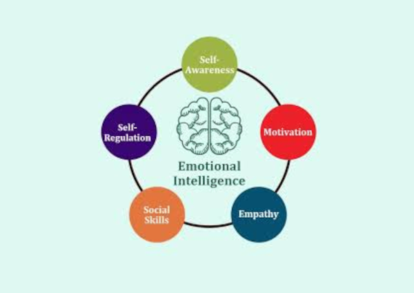Diagram of the 5 emotional intellgence traits: self-awareness, personal motivation, self-regulation, empathy and social communication.