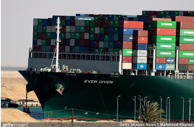 The Evergiven ship which was stuck across the Suez Canal